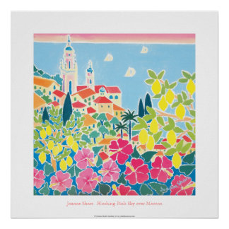Art Poster: Blushing Pink Sky over Menton Poster