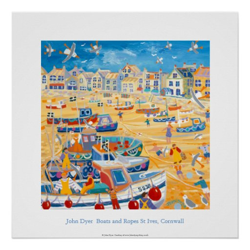 Art Poster: Boats and Ropes, St Ives, Cornwall Poster