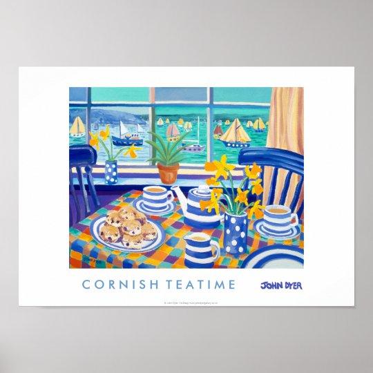 Art Poster: Cornish Tea Time. ( Cornish Blue