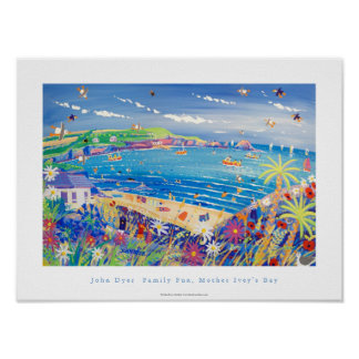 Art Poster Family Fun Mother Ivey s Bay Cornwall