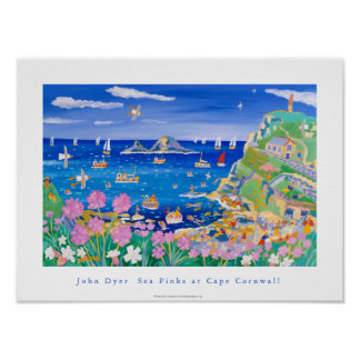 Art Poster: John Dyer Sea Pinks at Cape Cornwall Poster