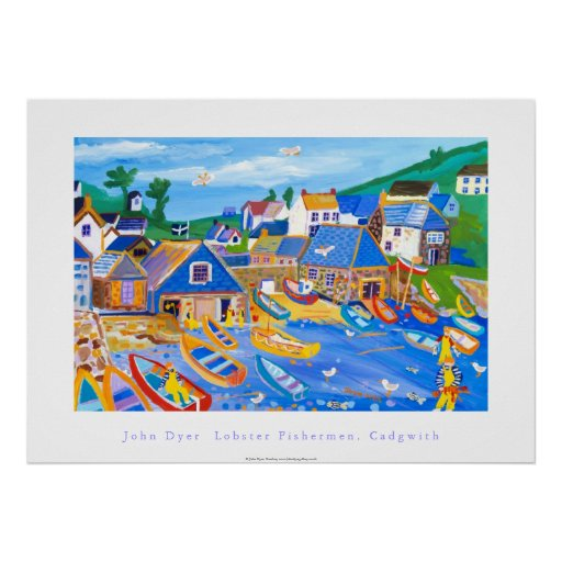 Art Poster: Lobster Fishermen, Cadgwith, Cornwall