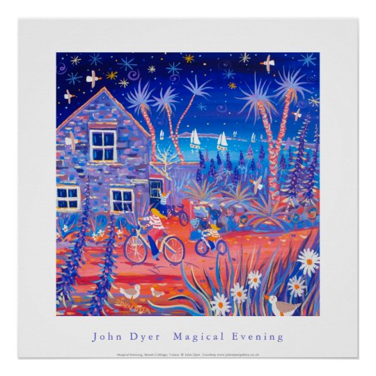 Art Poster: Magical Evening, Beach Cottage Tresco Poster