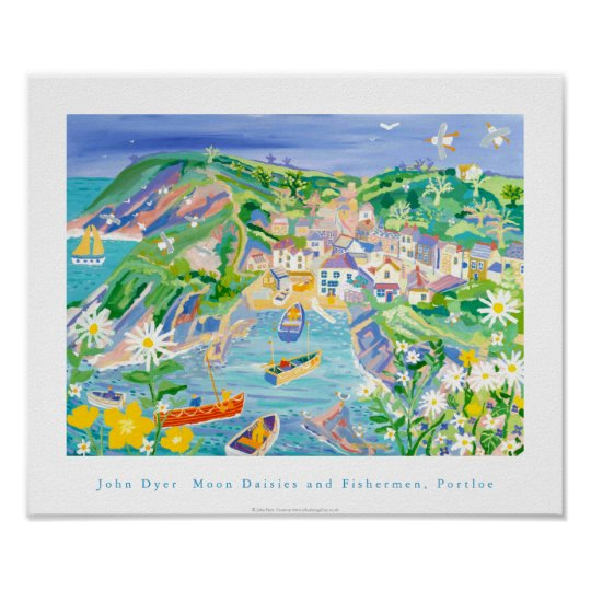 Art Poster: Moon Daisies and Fishermen, Portloe Poster