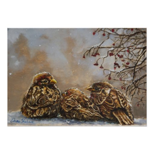 """Art Poster of  Birds """"Keeping Company"""""""