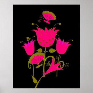 Art Poster Pink 2 Forrest Flowers