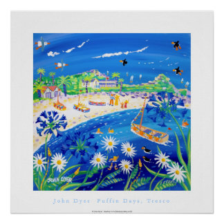 Art Poster: Puffin days, Tresco Poster