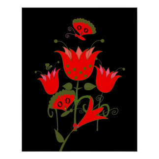 Art Poster Red 2 Forrest Flowers