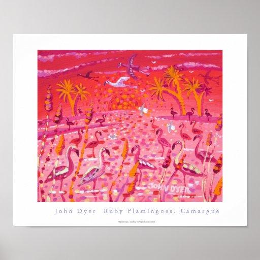 Art Poster: Ruby Flamingoes, Camargue, France