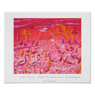 Art Poster: Ruby Flamingoes, Camargue, France Poster