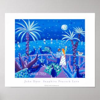 Art Poster Sapphire Peacock Love Côte d Azur