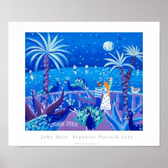 Art Poster: Sapphire Peacock Love, Côte d'Azur Poster