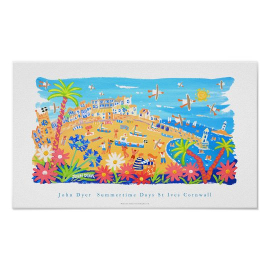 Art Poster: Summertime Days, St Ives, Cornwall Poster