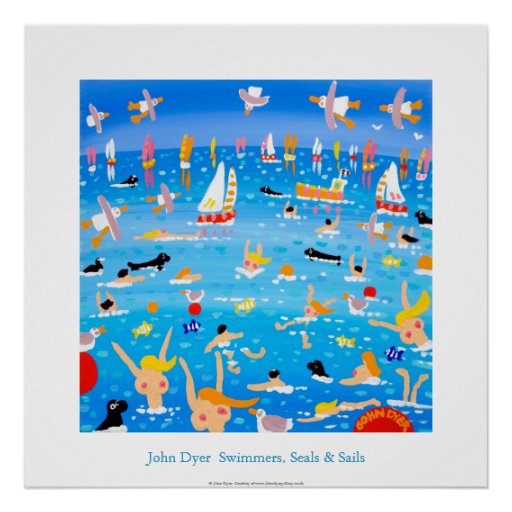 Art Poster: Swimmers, Seals and Sails.