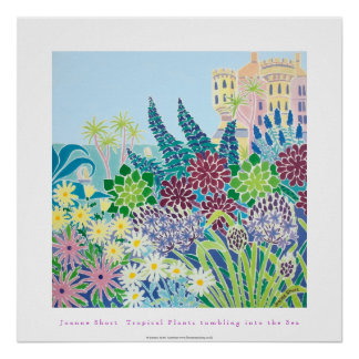 Art Poster: Tropical Plants tumblng into the Sea
