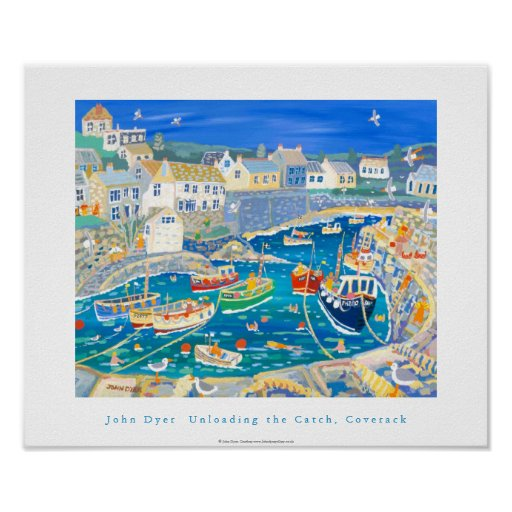 Art Poster: Unloading the Catch,Coverack, Cornwall