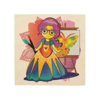 Art Princess on Wood Print