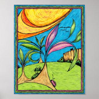 Art Print, Backyard Summer Fun Poster