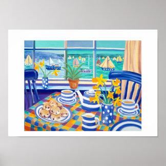 Art Print: Cornish Tea Time. ( Cornish Blue )