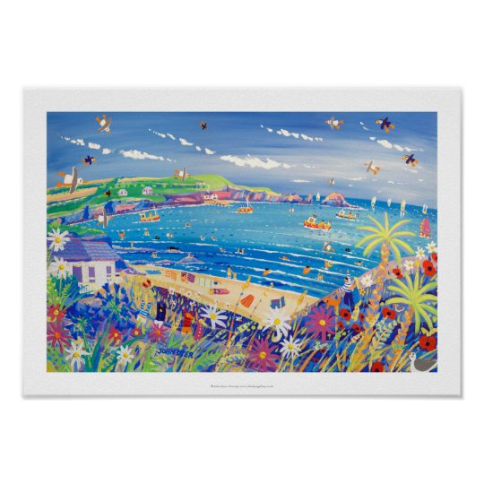 Art Print: Family Fun, Mother Ivey's Bay, Cornwall