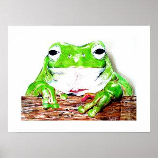 Art print: Green tree frog illustration Poster