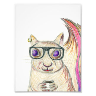 Art Print [hipster not hamster] squirrel coffee Photographic Print