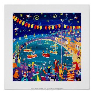 Art Print: Lanterns & Lights, Mousehole, Cornwall Poster