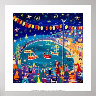 Art Print: Lanterns & Lights, Mousehole, Cornwall
