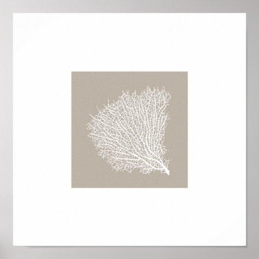 art print of white coral branch