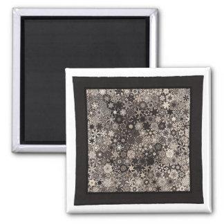 """Art Quilt Magnet - """"Metro"""" 2 Inch Square Magnet"""
