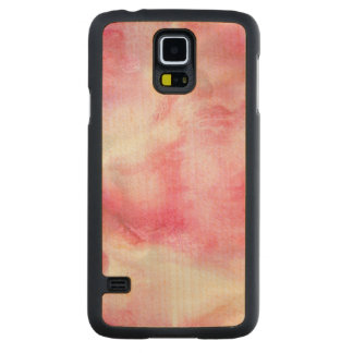 art red avant-garde background hand paint 2 carved maple galaxy s5 case