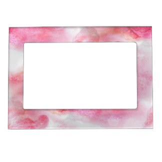 art red avant-garde background hand paint photo frame magnet