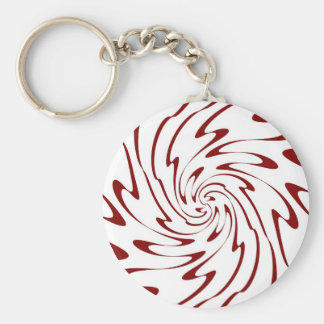 Art Retro Red and White Swirl Waves Abstract Basic Round Button Key Ring