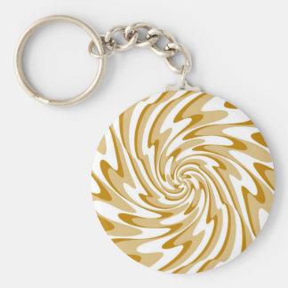 Art Retro Swirl Waves Abstract Basic Round Button Key Ring