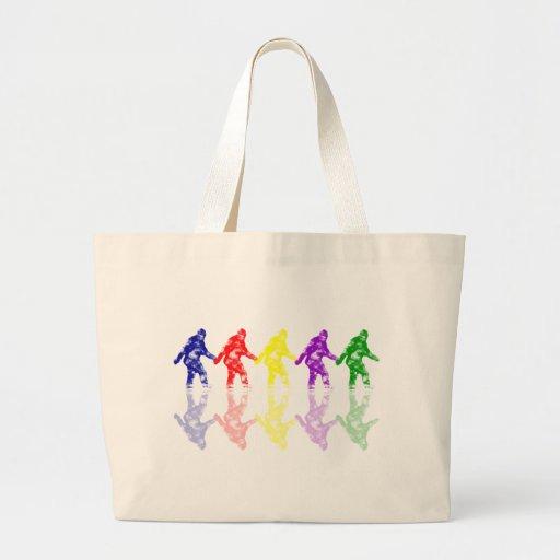 ART SCHOOL SQUATCH - Colorful Bigfoot Logo Tote Bags