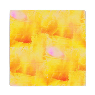art seamless color yellow background watercolor wood coaster