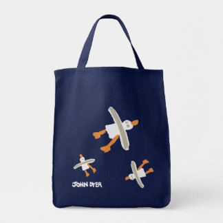 Art Shopper Beach Bag: John Dyer Seagulls. Blue Tote Bag
