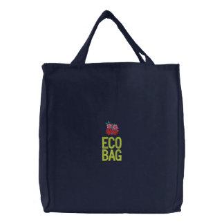 Art Shopping Bag: Eco Bag. Hibiscus Embroidered Tote Bag