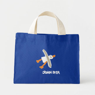 Art Shopping Bag: John Dyer Seagull, Blue Mini Tote Bag