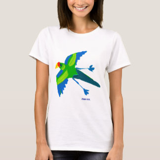 Art T-Shirt: Bird Life and Lemur Green T-Shirt