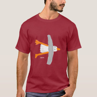 Art T-Shirt: Classic Seagull. Wine Red T-Shirt