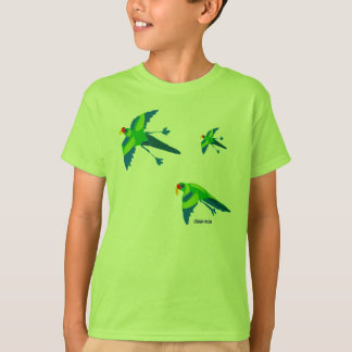 Art T-Shirt: Emerald Parrots. Green Kids T-Shirt