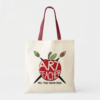 Art Teacher Painted Apple & Paint Brushes Bag