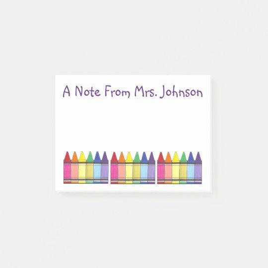 Art Teacher Rainbow Crayon Personalised Post-It Post-it® Notes
