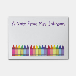 Art Teacher Rainbow Crayon Personalized Post-It Post-it Notes