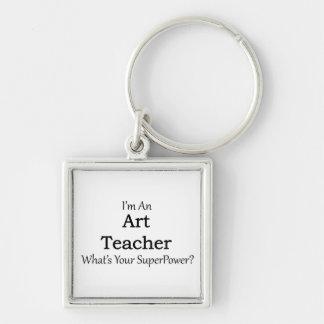 Art Teacher Silver-Colored Square Key Ring