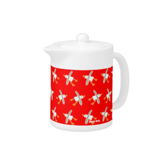 Art Teapot: John Dyer Seagulls Red Design