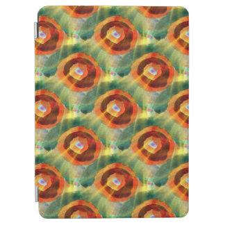 art texture abstract water green, orange, circle iPad air cover