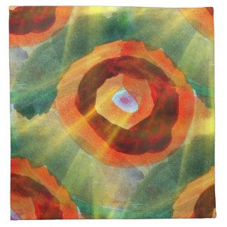 art texture abstract water green, orange, circle napkin