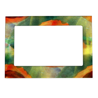 art texture abstract water green, orange, circle picture frame magnets